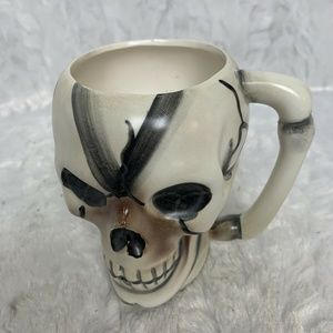 Hand Painted Skull Halloween Skeleton Head Ceramic
